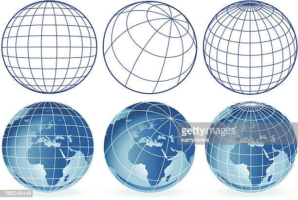 different wireframe globes europe and africa - grid pattern stock illustrations