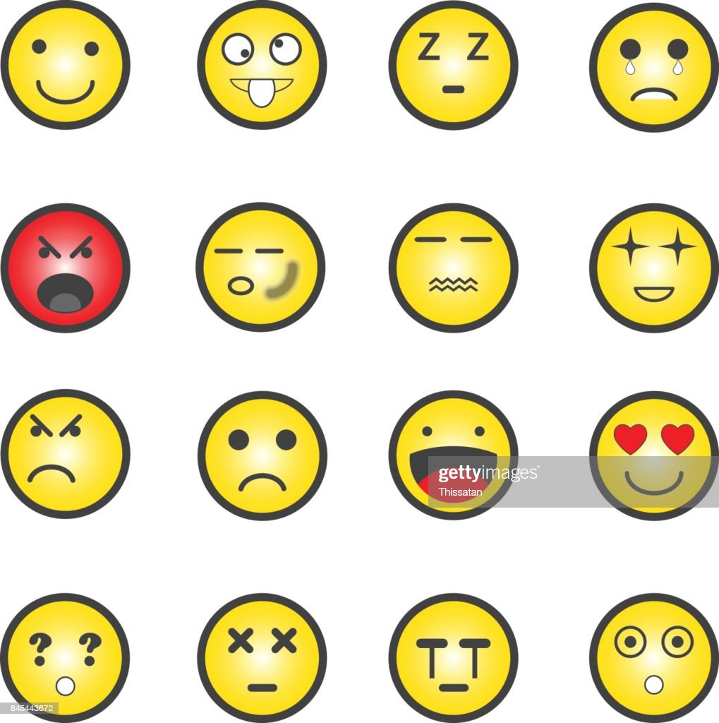 Different yellow emotions icons set, vector illustration.