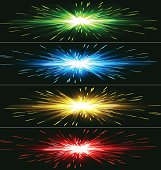 Differently colored abstract exploding banner