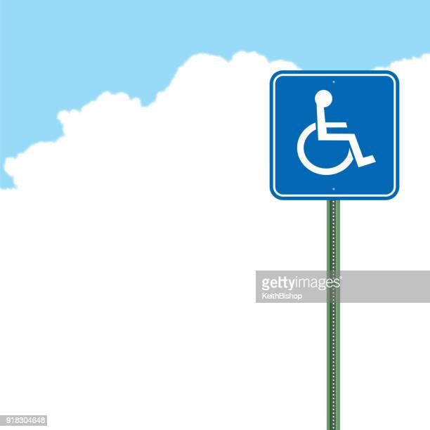 differing abilities handicap sign background, copy space - disabled sign stock illustrations, clip art, cartoons, & icons