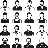 Differnent man Body Types black & white vector icon set