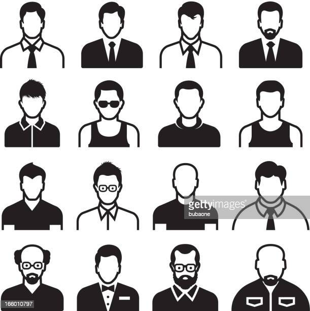 differnent man body types black & white vector icon set - mature adult stock illustrations