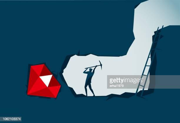 digging - gemstone stock illustrations