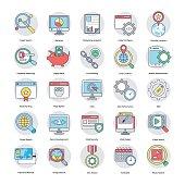 Digital and Internet Marketing Flat Circular Icons Set 1