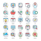 Digital and Internet Marketing Flat Icons Set