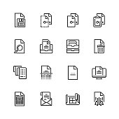 Digital and paper documents vector icon set in thin line style