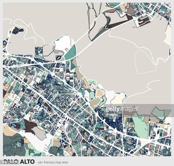 デジタル アート マップの背景、パロアルト市 - palo alto and 街点のイラスト素材/クリップアート素材/マンガ素材/アイコン素材