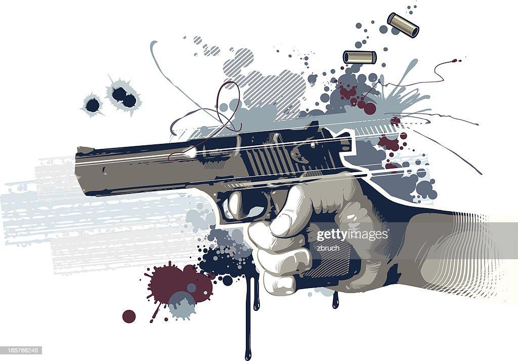 Digital art of shooting handgun : stock illustration