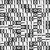 Digital background with computer thema, binary digit 1 a 0, color black and white, inverse squares with numbers