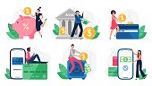 Digital banking. Bank transactions, credit card payment and internet payments. Online pay vector illustration set