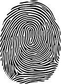 Digital black fingerprint on white background