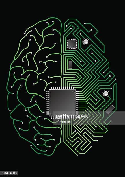 digital brain - computer chip stock illustrations, clip art, cartoons, & icons