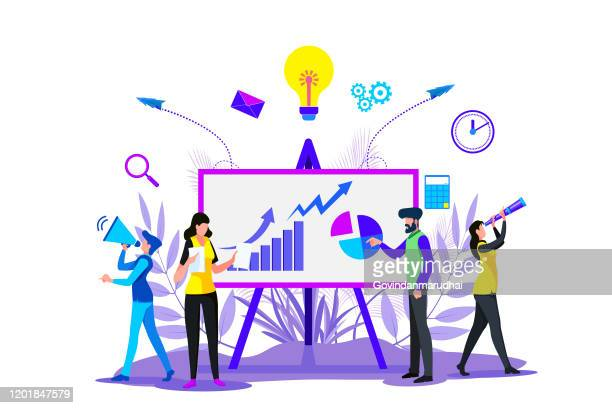 digital business strategies, creating business strategy plan, generating report. growth chart - business strategy stock illustrations