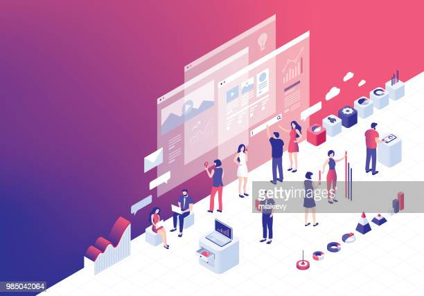 digital business strategies - teamwork stock illustrations