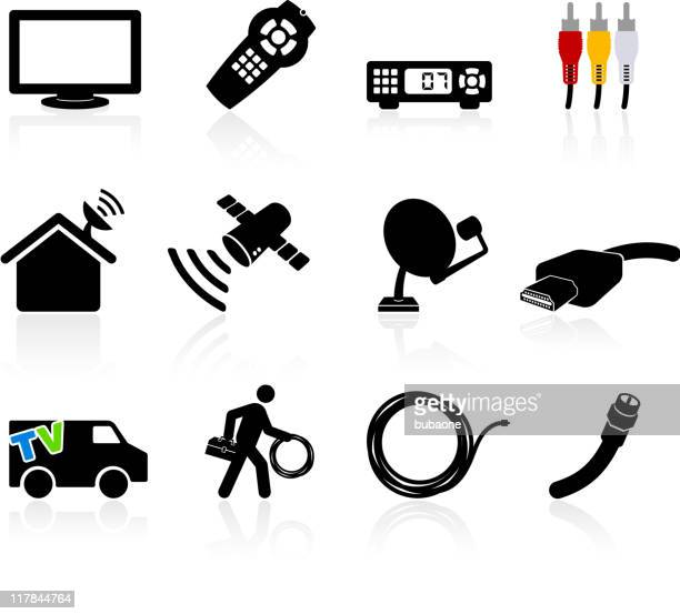 digital cable satellite television installation and equipment - cable stock illustrations, clip art, cartoons, & icons