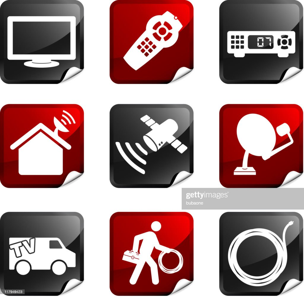 digital cable satellite television royalty free vector icon set stickers