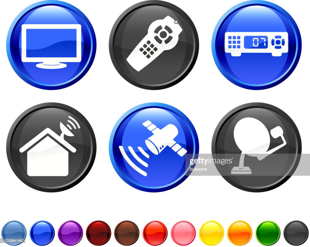 digital cable satellite television royalty free vector icon set