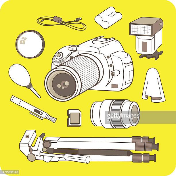 digital camera and accessories - desk toy stock illustrations, clip art, cartoons, & icons