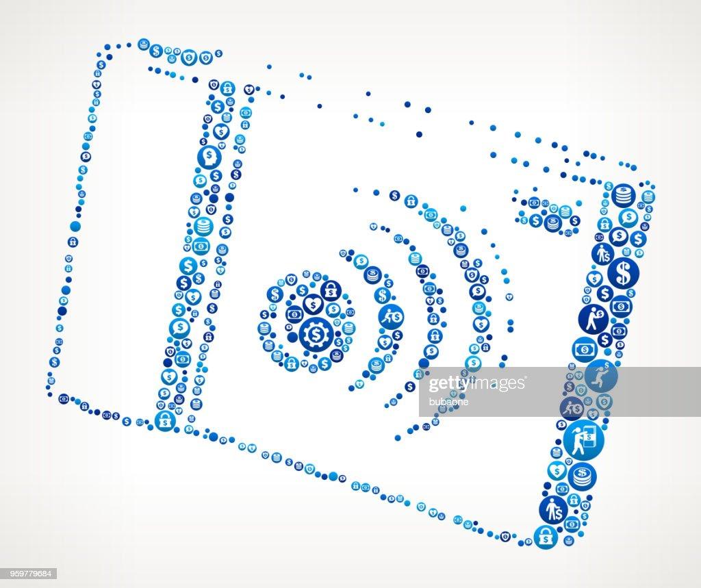 Digitalkamera Geld blaues Symbol Muster Hintergrund : Stock-Illustration