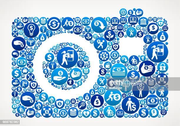 Digital Camera  Money Blue Icon Pattern Background