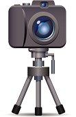 Digital Camera on Tripod vector icon