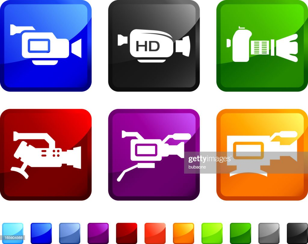Digital Camera royalty free vector icon set stickers : stock illustration