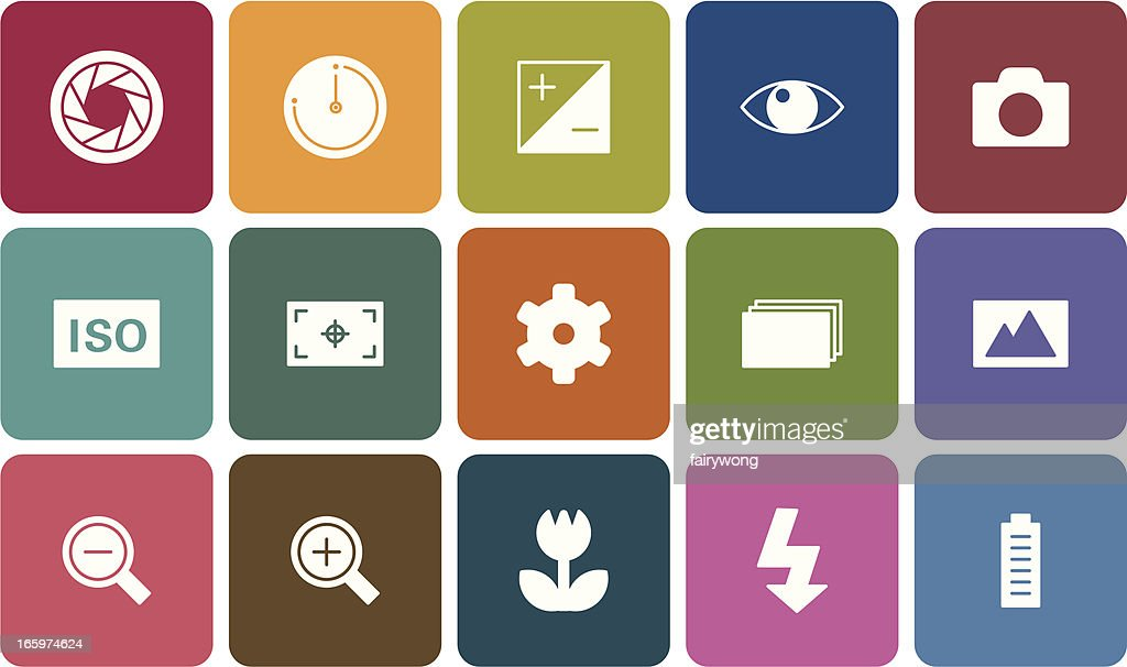 digital camera settings icons : stock illustration