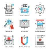 Digital campaign development line icons set
