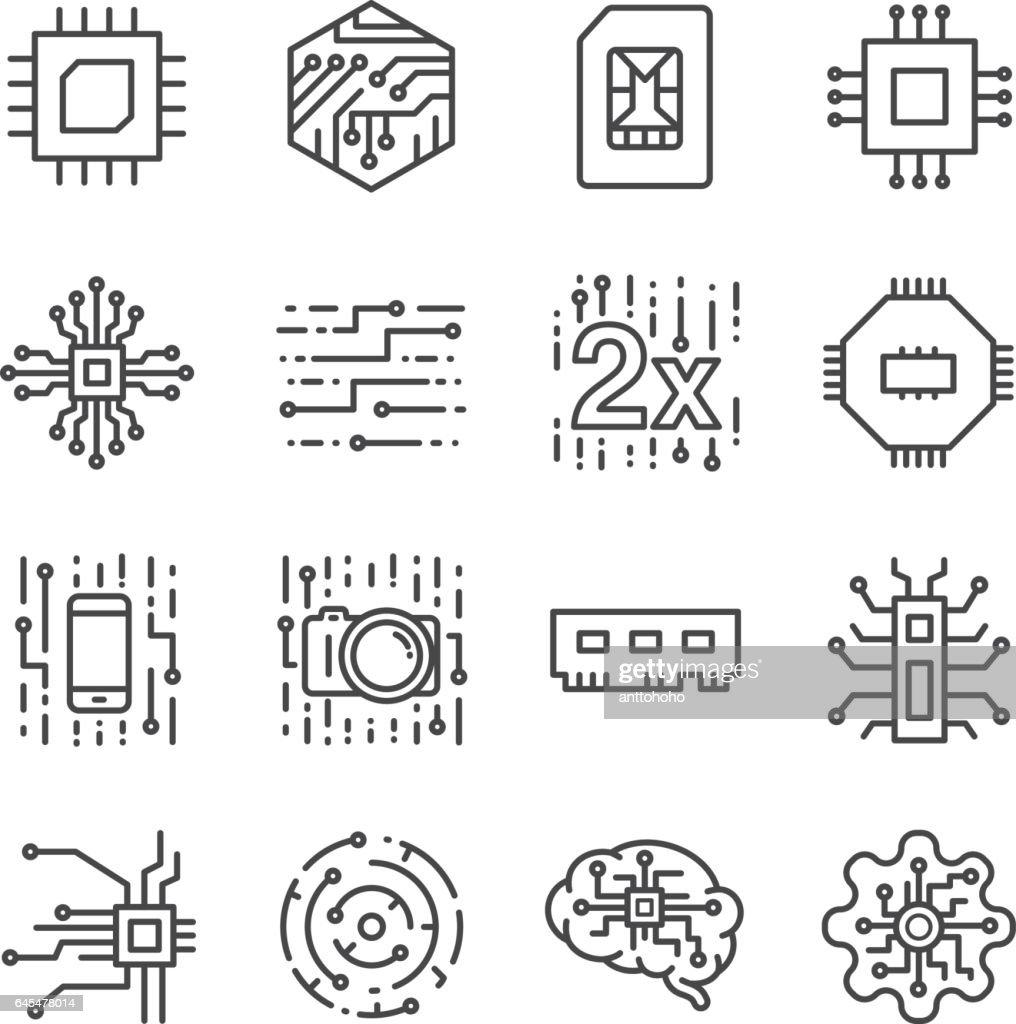 Digital chip processor icons set