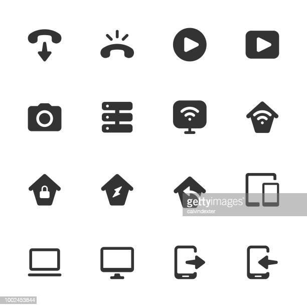 Conjunto de iconos de comunicaciones digital - serie sólida oscurezca