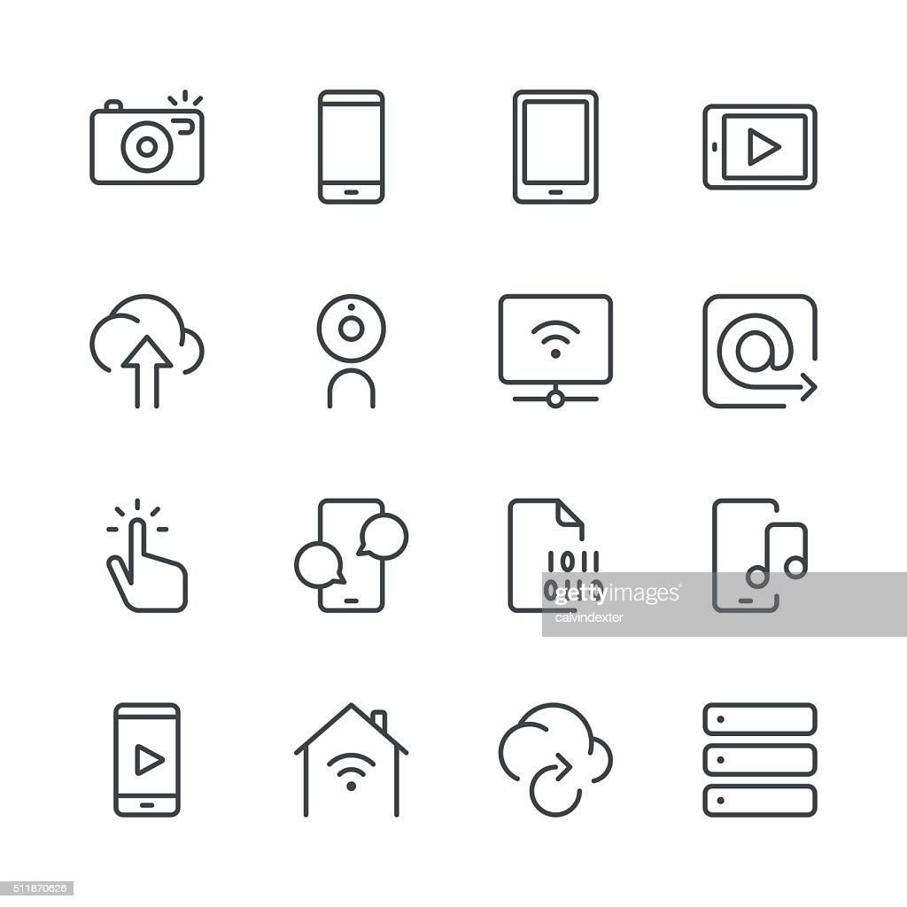 Digital Communications Icons set 1 | Black Line series