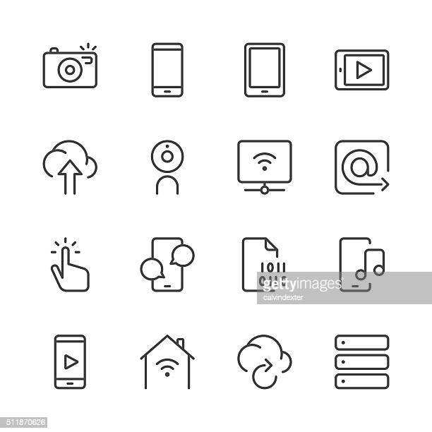 digital communications icons set 1 | black line series - interactivity stock illustrations, clip art, cartoons, & icons