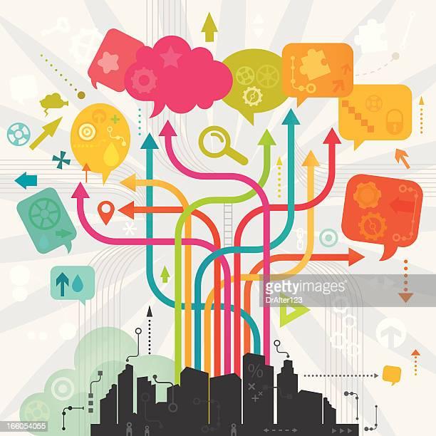 digital community - sociology stock illustrations, clip art, cartoons, & icons
