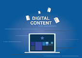 Digital content concept, get rid of paper work with app to organize by laptop