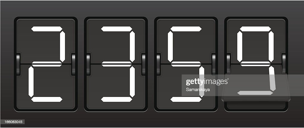 Digital countdown clock in military time : Stock Illustration