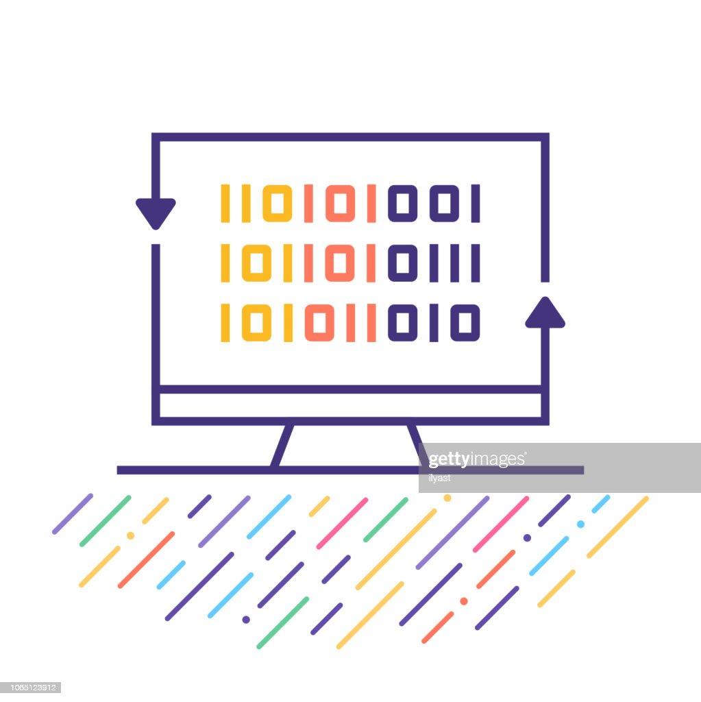 デジタル暗号ライン アイコン イラスト : ストックイラストレーション