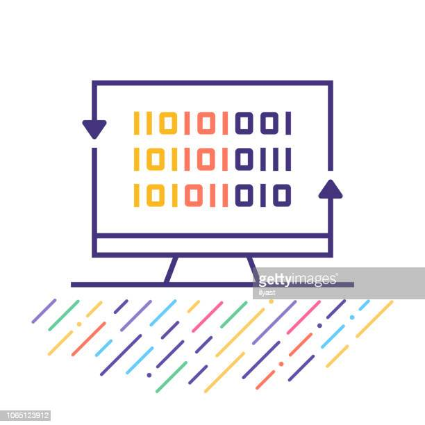 digital cryptography line icon illustration - cryptocurrency mining stock illustrations