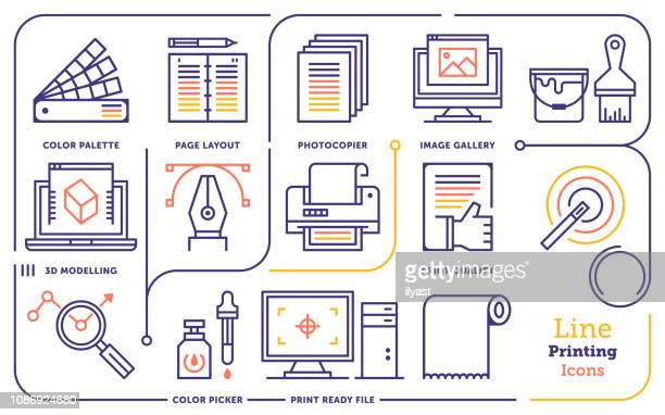 digital design services vector line icon set - printout stock illustrations