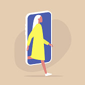 Digital detox and Modern lifestyle, Young female character stepping out of the mobile phone screen