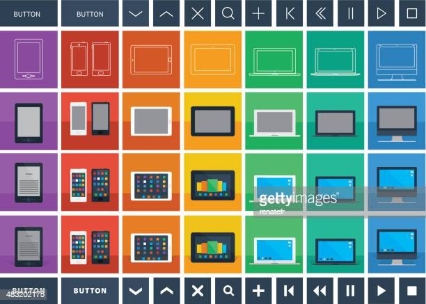 digital devices flat design icons and buttons - former stock illustrations, clip art, cartoons, & icons