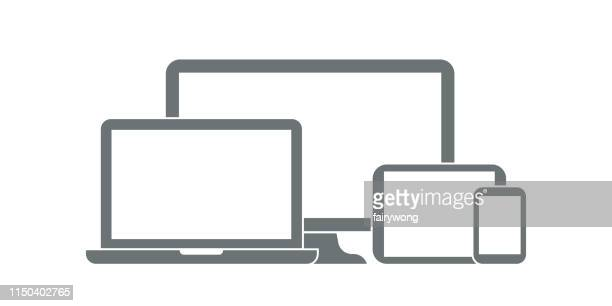 digital devices icons - multimedia stock illustrations
