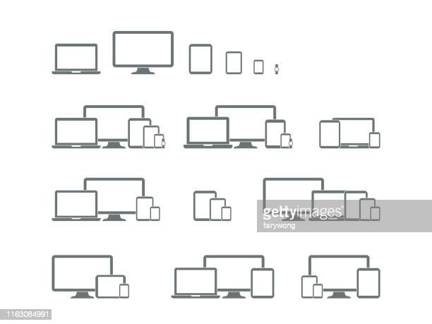 digital devices icons - equipment stock illustrations