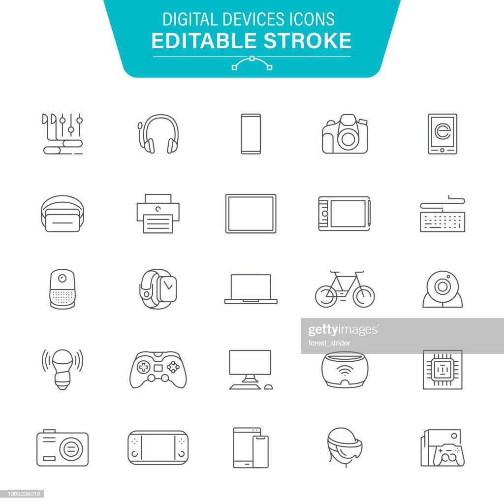 Iconos de línea de dispositivos digitales : Ilustración de stock
