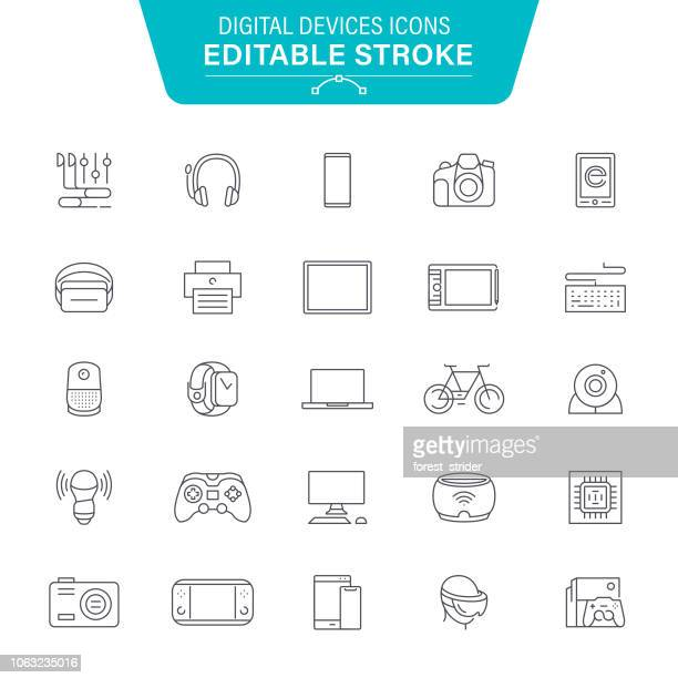 digital devices line icons - television industry stock illustrations
