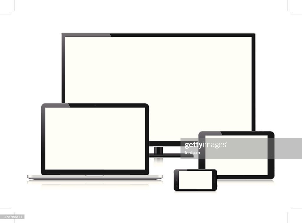 Digital Devices with blank screen (Vector) : stock illustration