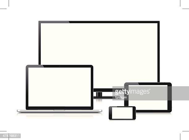 Digital Devices with blank screen (Vector)
