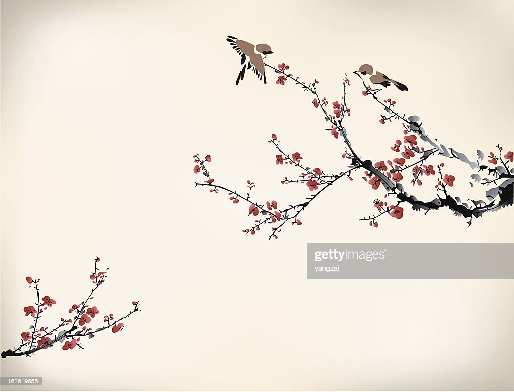 Digital drawing of birds in a Japanese cherry tree in winter