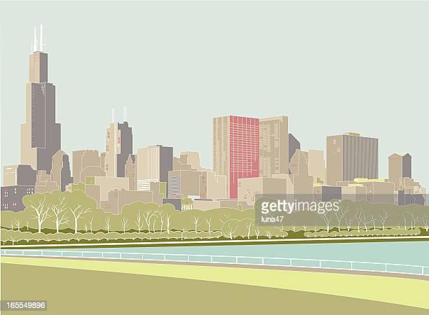 シカゴの街並み - illustration technique点のイラスト素材/クリップアート素材/マンガ素材/アイコン素材
