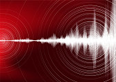 Digital Earthquake Wave with Circle Vibration on Dark Red background,audio wave diagram concept,design for education and science,Vector Illustration.