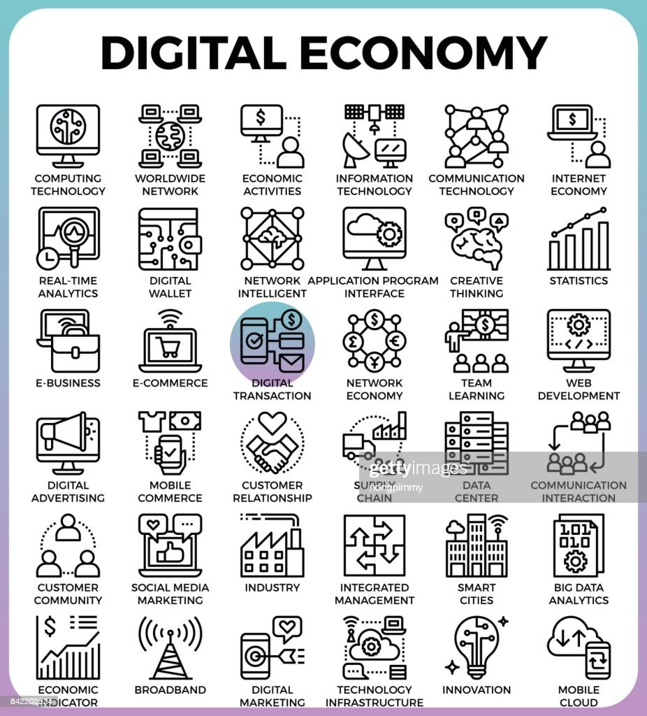 Digital economy concept icons